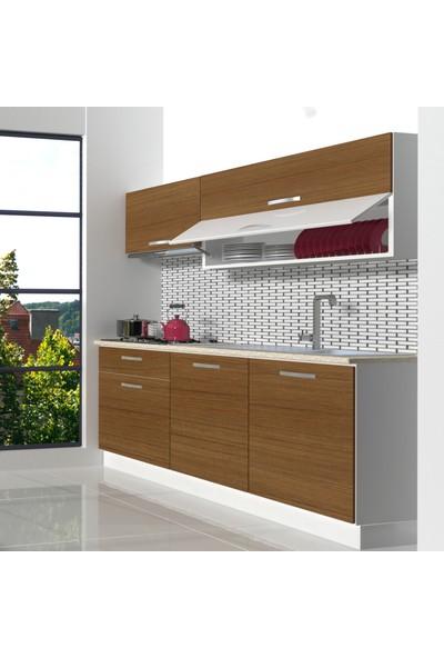 Decoraktiv Hazır Mutfak Dolabı Style 160 cm Ceviz -Tezgah Dahil