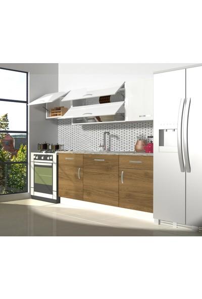 Decoraktiv Hazır Mutfak Dolabı Prestij 220 cm Pera & Parlak Beyaz -Tezgah Dahil