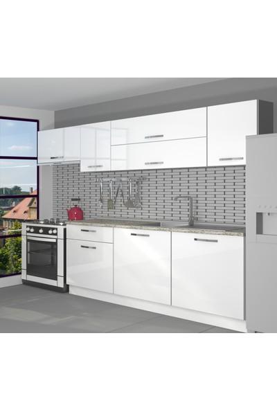Decoraktiv Hazır Mutfak Dolabı Ekol 240 cm Parlak Beyaz -Tezgah Dahil
