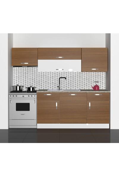 Decoraktiv Hazır Mutfak Dolabı Prestij 220 cm Ceviz -Tezgah Dahil