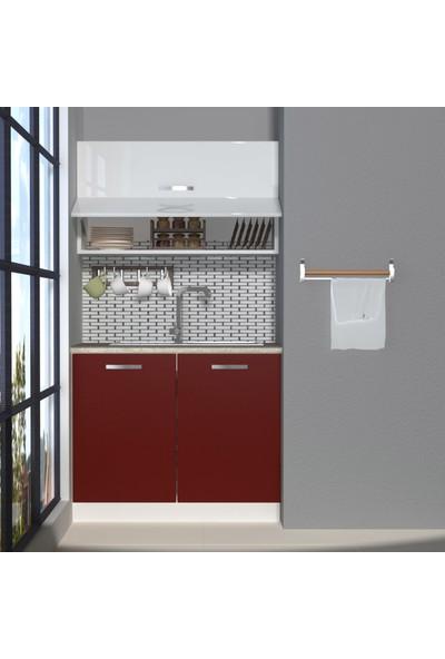 Decoraktiv Hazır Mutfak Dolabı Mini 100Y cm Bordo & Parlak Beyaz -Tezgah Dahil