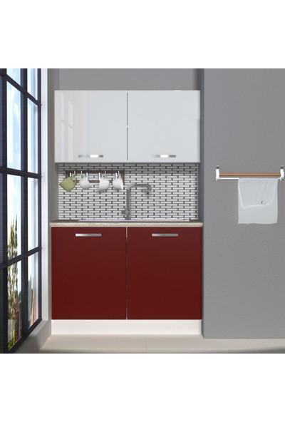 Decoraktiv Hazır Mutfak Dolabı Mini 120 cm Bordo & Parlak Beyaz -Tezgah Dahil