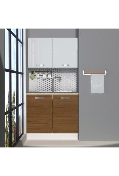 Decoraktiv Hazır Mutfak Dolabı Mini 90 cm Ceviz & Parlak Beyaz -Tezgah Dahil