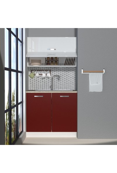 Decoraktiv Hazır Mutfak Dolabı Mini 90Y cm Bordo & Parlak Beyaz -Tezgah Dahil