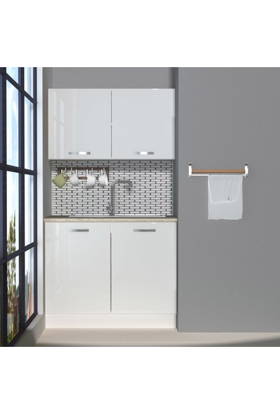 Decoraktiv Hazır Mutfak Dolabı Mini 100 cm Parlak Beyaz -Tezgah Dahil