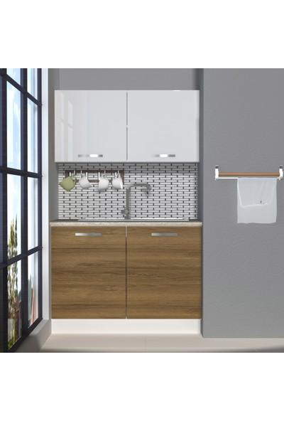 Decoraktiv Hazır Mutfak Dolabı Mini 120 cm Pera & Parlak Beyaz -Tezgah Dahil