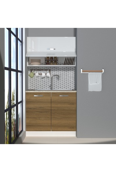 Decoraktiv Hazır Mutfak Dolabı Mini 90Y cm Pera & Parlak Beyaz -Tezgah Dahil