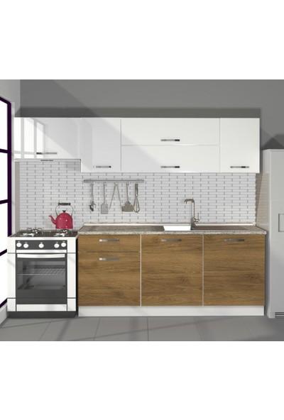 Decoraktiv Hazır Mutfak Dolabı Ekol 240 cm Pera & Parlak Beyaz -Tezgah Dahil