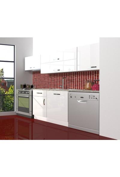 Decoraktiv Hazır Mutfak Dolabı Elite 220 cm Parlak Beyaz -Tezgah Dahil