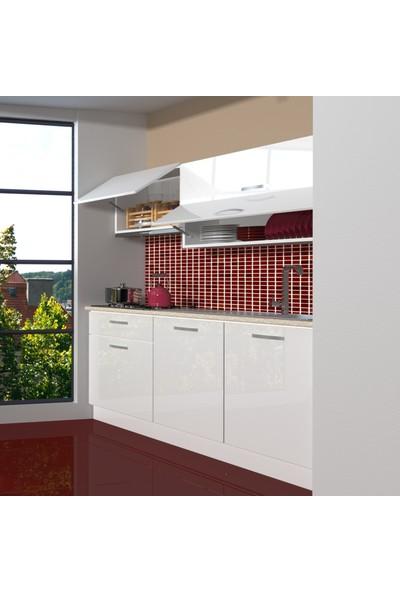 Decoraktiv Hazır Mutfak Dolabı Style 160 cm Parlak Beyaz -Tezgah Dahil
