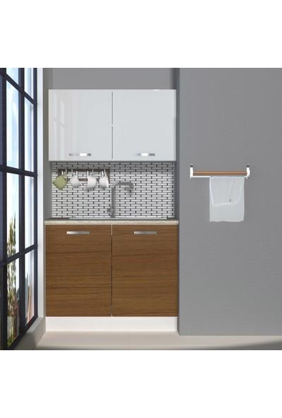 Decoraktiv Hazır Mutfak Dolabı Mini 100 cm Ceviz & Parlak Beyaz -Tezgah Dahil