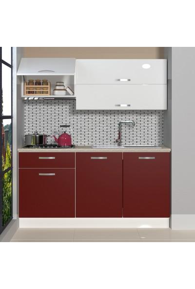 Decoraktiv Hazır Mutfak Dolabı Style 160 cm Bordo & Parlak Beyaz -Tezgah Dahil