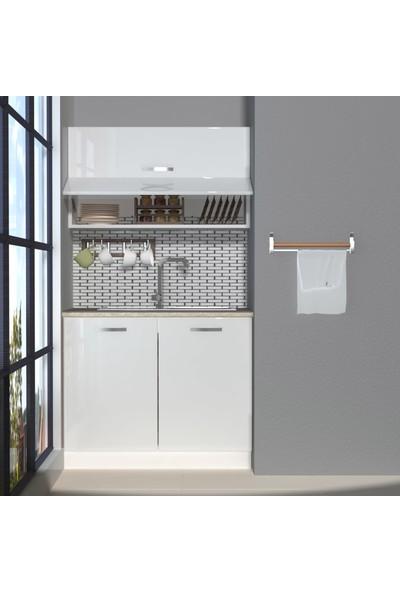 Decoraktiv Hazır Mutfak Dolabı Mini 100Y cm Parlak Beyaz -Tezgah Dahil