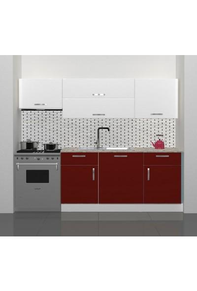 Decoraktiv Hazır Mutfak Dolabı Prestij 220 cm Bordo & Parlak Beyaz -Tezgah Dahil