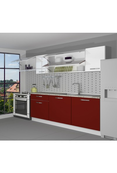 Decoraktiv Hazır Mutfak Dolabı Ekol 240 cm Bordo & Parlak Beyaz -Tezgah Dahil