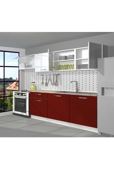 Decoraktiv Hazır Mutfak Dolabı Smart 240 cm Bordo & Parlak Beyaz -Tezgah Dahil