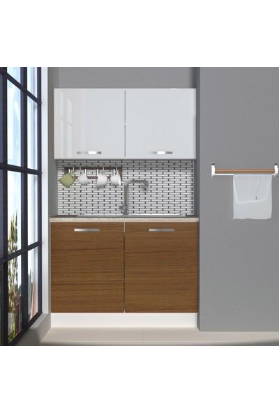 Decoraktiv Hazır Mutfak Dolabı Mini 120 cm Ceviz & Parlak Beyaz -Tezgah Dahil