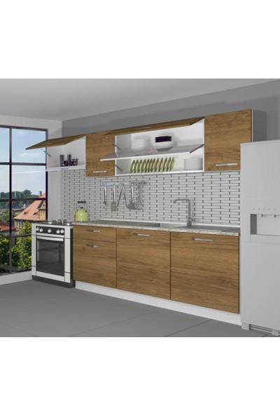 Decoraktiv Hazır Mutfak Dolabı Ekol 240 cm Pera -Tezgah Dahil