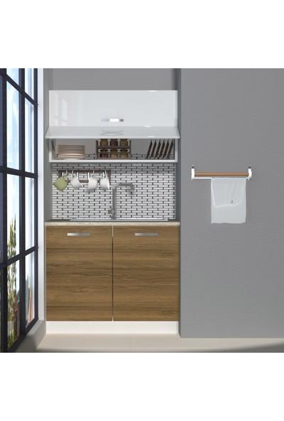 Decoraktiv Hazır Mutfak Dolabı Mini 100Y cm Pera & Parlak Beyaz -Tezgah Dahil