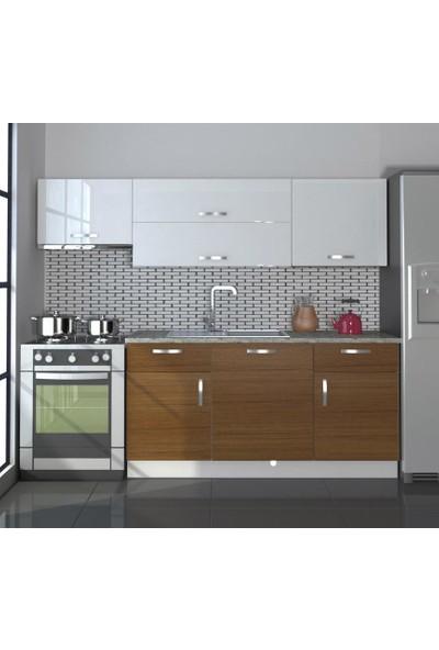 Decoraktiv Hazır Mutfak Dolabı Prestij 220 cm Ceviz & Parlak Beyaz -Tezgah Dahil