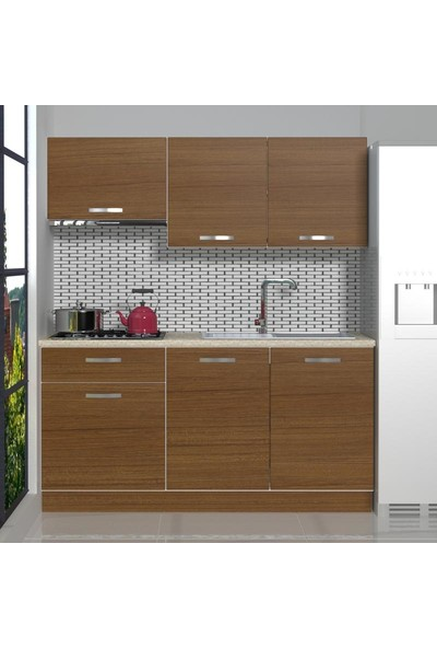 Decoraktiv Hazır Mutfak Dolabı Naturel 160 cm Ceviz -Tezgah Dahil