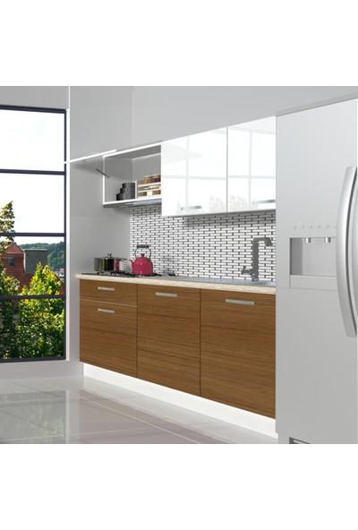 Decoraktiv Hazır Mutfak Dolabı Naturel 160 cm Ceviz & Parlak Beyaz -Tezgah Dahil
