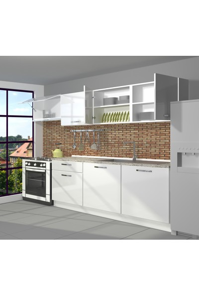 Decoraktiv Hazır Mutfak Dolabı Smart 240 cm Parlak Beyaz -Tezgah Dahil