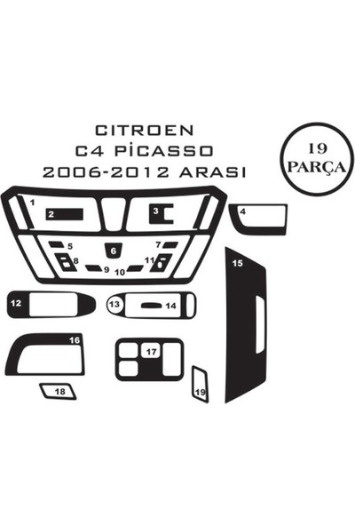 Carat Konsol Maun Kaplama Citroen C4 05-11 Picasso 19 Parça