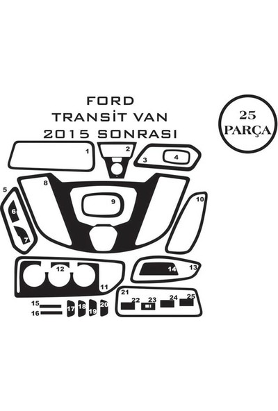 Carat Konsol Maun Kaplama Ford Transit Van 15- 25 Parça