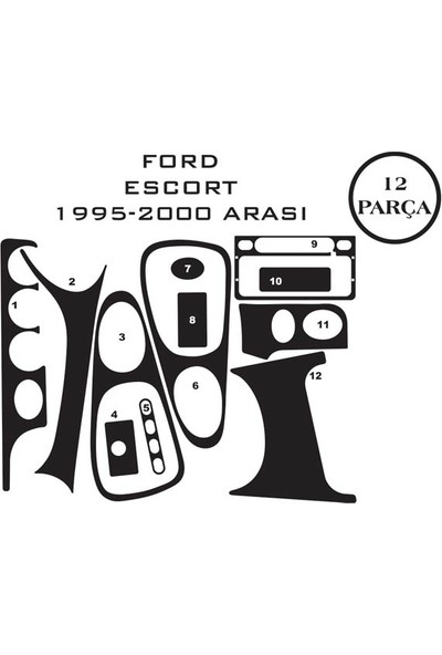 Carat Konsol Maun Kaplama Ford Escort 95-00 12 Parça
