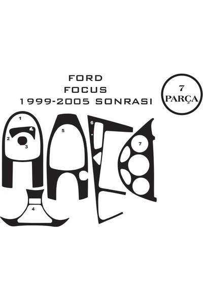 Carat Konsol Maun Kaplama Ford Focus 99-07 7 Parça
