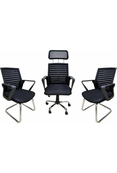 Ofis City Takımı Büro Takımı 3lü Siyah