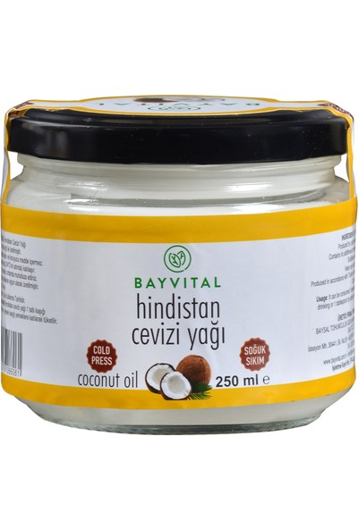 Bayvital Soğuk Sıkım Hindistan Cevizi Yağı 250 ml