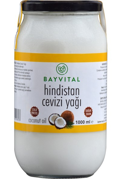 Bayvital Soğuk Sıkım Hindistan Cevizi Yağı 1000 ml ( 1 lt )