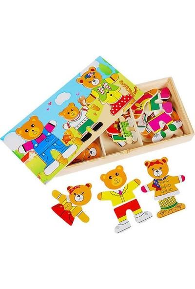 Kartoy Sevimli Ayı Ailesi Eğitici Ahşap Yapboz Puzzle Montessori Oyuncak 3 Ayı