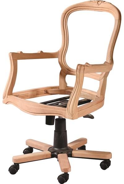 Obuts Home 4781 Klasik Oymalı Dönerli Sandalye Cilasız Ahşap Ham