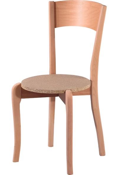 Obuts Home 4580 Tek Tepeli Sandalye Cilasız Ahşap Ham