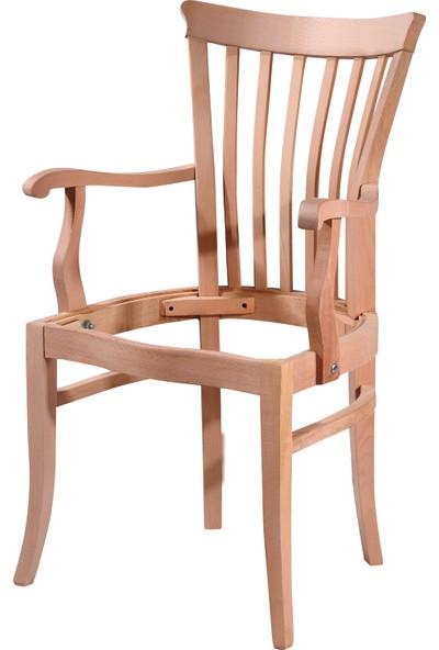 Obuts Home 4753 Şerif Kollu Sandalye Cilasız Ahşap Ham