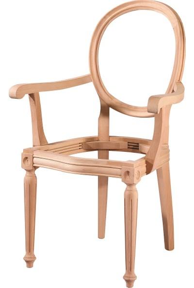 Obuts Home 4535 Tornalı Kollu Sandalye Cilasız Ahşap Ham