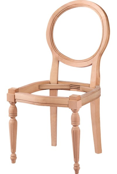 Obuts Home 4566 Yuvarlak Sandalye Cilasız Ahşap Ham