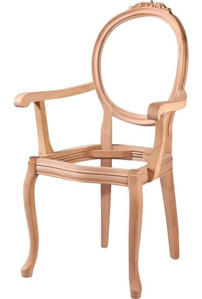 Obut's Home 7183 Madalyon Oymalı Kollu Sandalye Cilasız Ahşap Ham