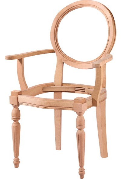 Obuts Home 4567 Kollu Yuvarlak Sandalye Cilasız Ahşap Ham