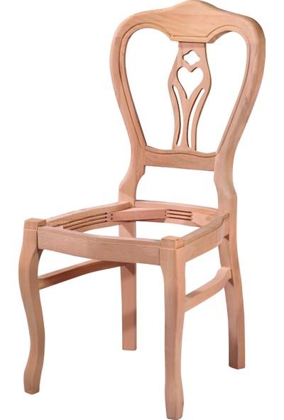Obuts Home 4570 Klasik Kontralı Sandalye Cilasız Ahşap Ham