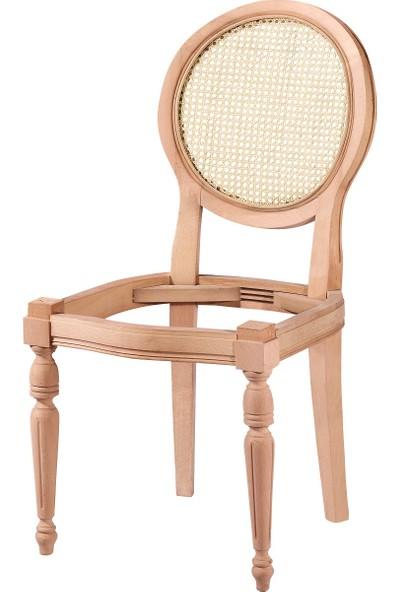 Obut's Home 7175 Hasırlı Yuvarlak Sandalye Cilasız Ahşap Ham