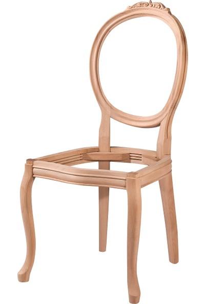 Obuts Home 4528 Madalyon Oymalı Sandalye Cilasız Ahşap Ham