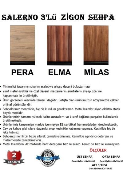 Moleno Salerno Metal Ayaklı Ahşap Kaplama 3 'lü Zigon Sehpa - Elma