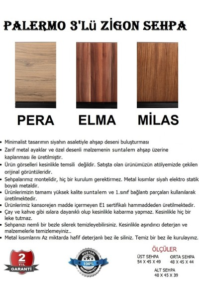 Moleno Viola Metal Ayaklı Ahşap Kaplama 3 'lü Zigon Sehpa - Elma