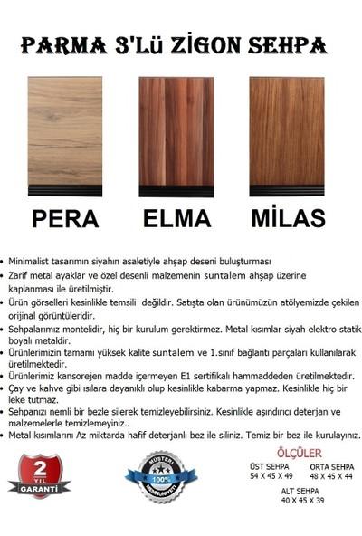 Moleno Parma Metal Ayaklı Ahşap Kaplama 3 'lü Zigon Sehpa - Elma