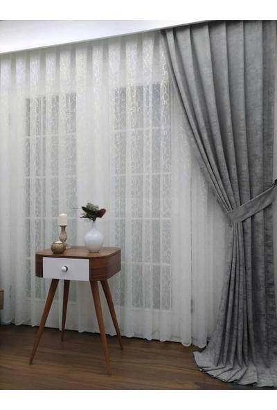 Caserta Home Bulut Desen Antrasit Orta Sıklıkta Pileli Jakar Tek Kanat Fon Perde - Ezo 12801