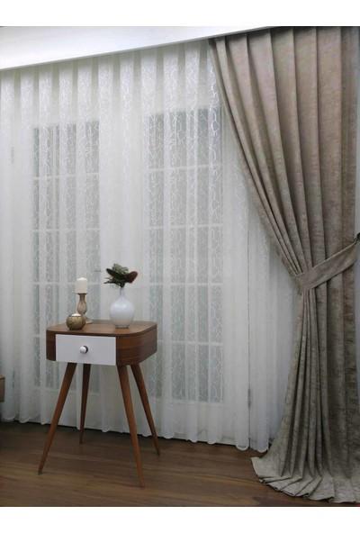 Caserta Home Bulut Desen Taş Sık Pileli Jakar Tek Kanat Fon Perde - Ezo 12756
